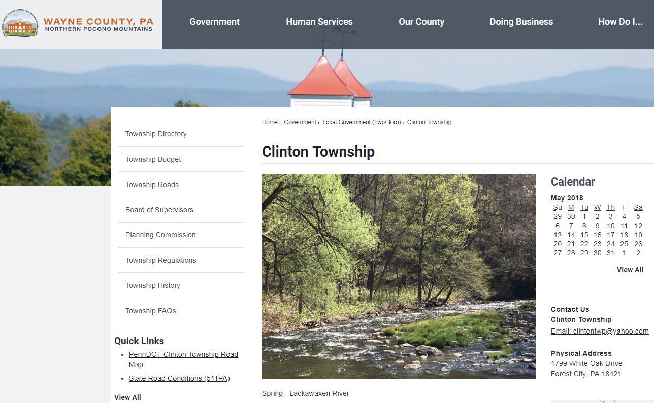 Screen shot of the Clinton Township home page