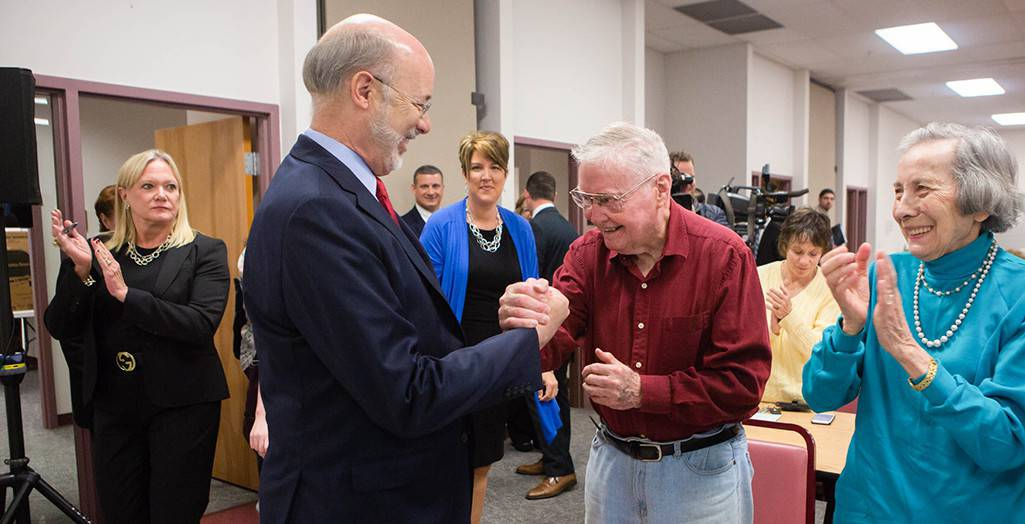 PA Gov. Tom Wolf greets consumers at a Senior Community Center after announcing $2 million in grants