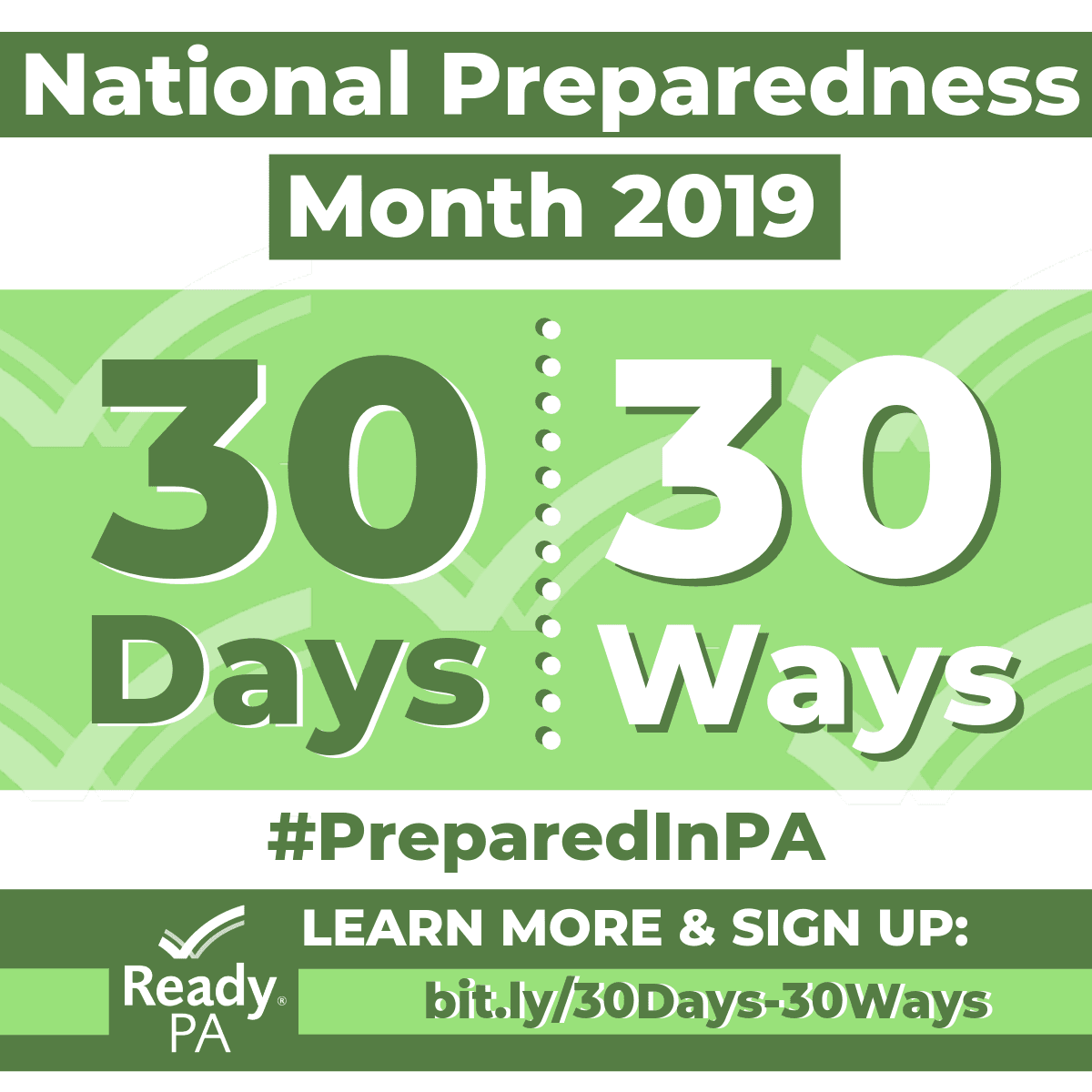 A green and white graphic promoting the 30 Days/30 Ways disaster preparedness campaign.