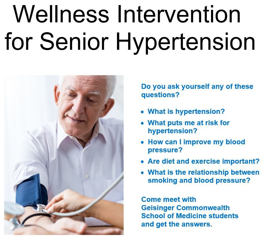 A poster showing an elderly man having his blood pressure taken with a list of questions about hyper