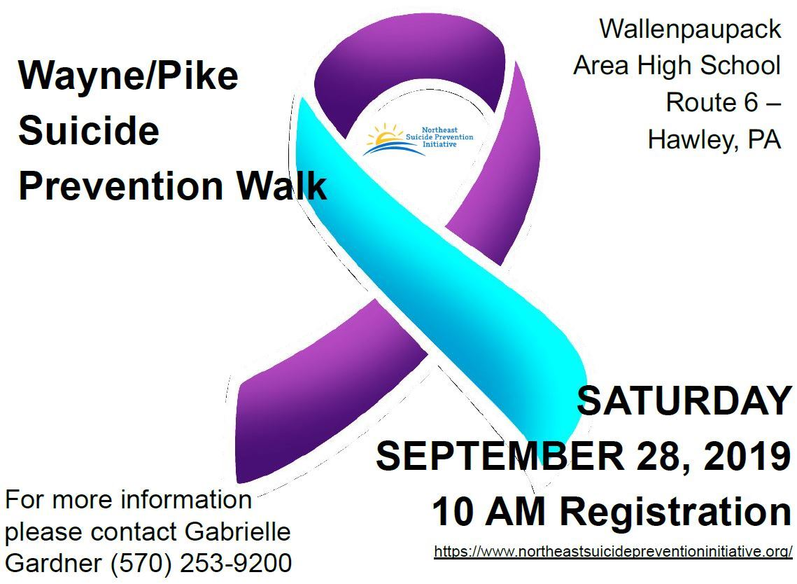 A purple and aqua awareness ribbon promotes the Wayne/Pike Suicide Prevention Walk on Sept. 28.