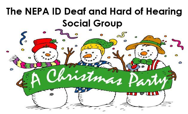 Three cartoon snowpeople hold a banner announcing A Christmas Party for Deaf Social Group.
