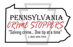 An outline of Pennsylvania with the Crime Stoppers logo and tip line phone number.