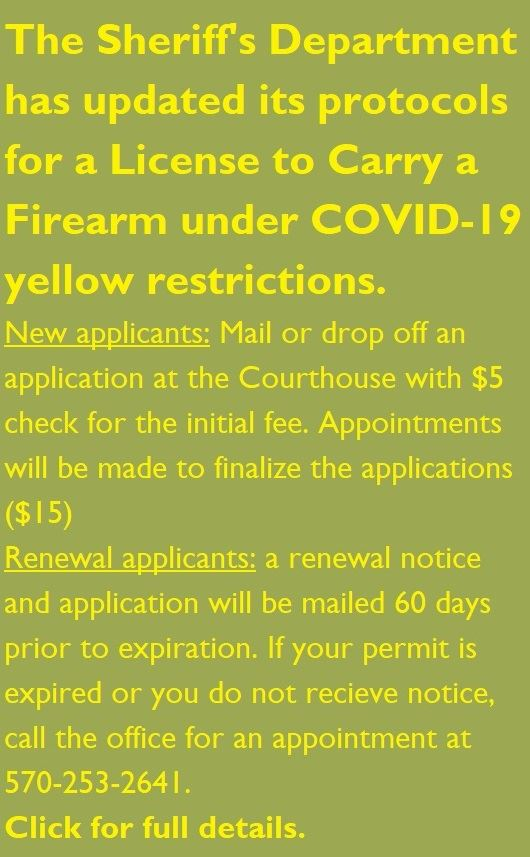 A note from the Sheriff setting out procedures for applying for License to Carry permit w/COVID-19.