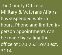 An image announcing the county's Military & Veterans Affairs office is close to walk-in service.