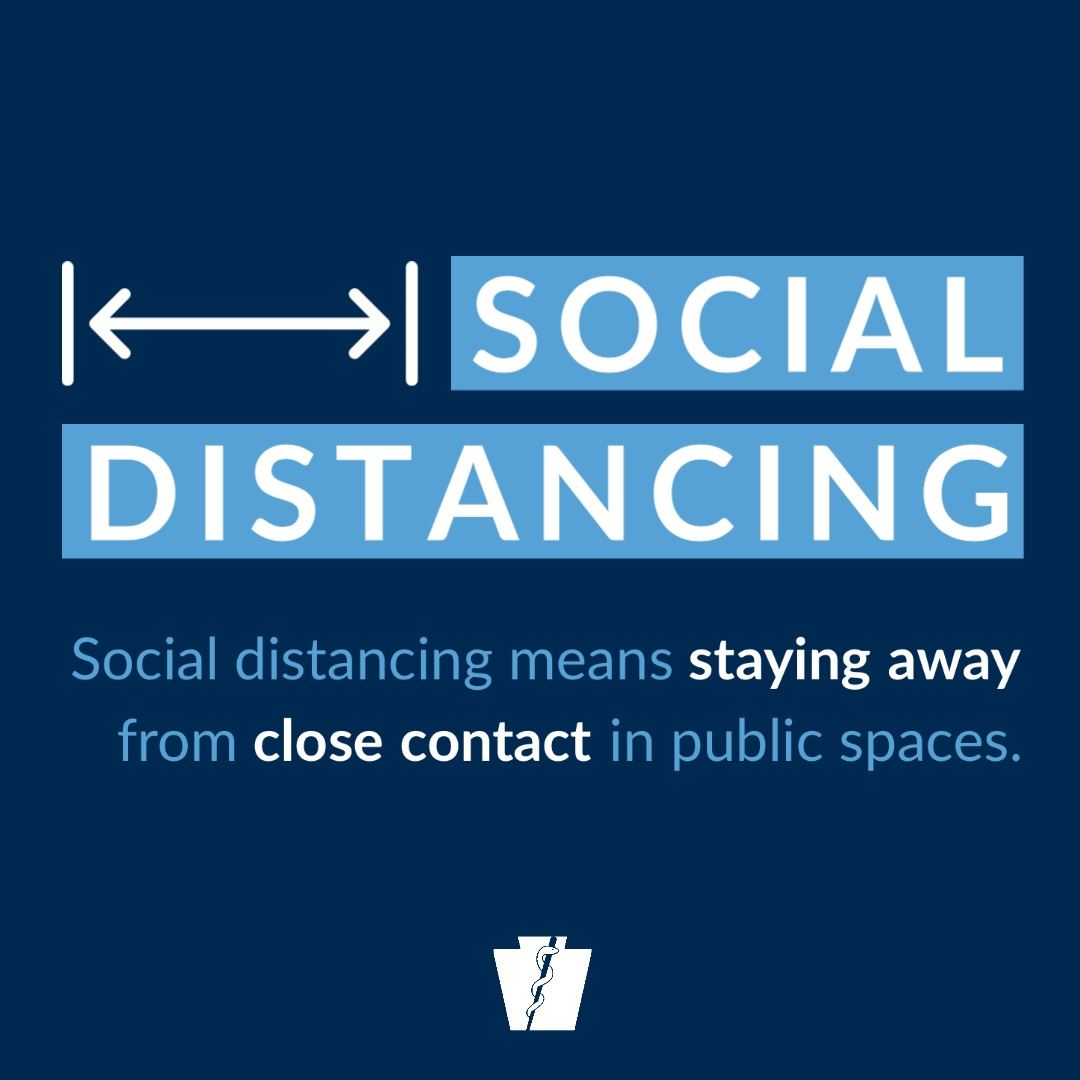 An image stressing the importance of social distancing in fighting the COVID-19 outbreak.