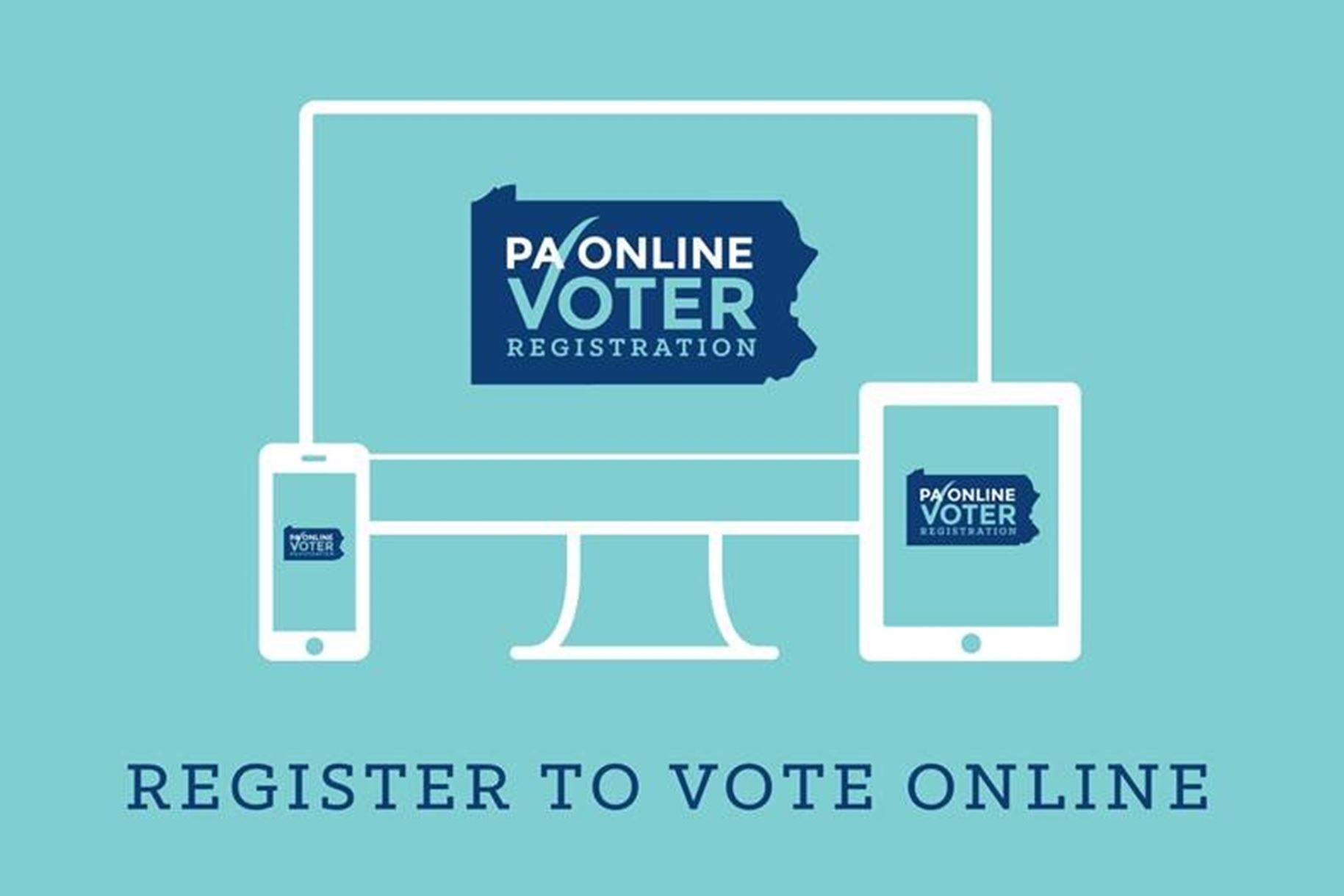 An stylized image of a computer, a smartphone and tablet encourage Pennsylvanians to register to vot