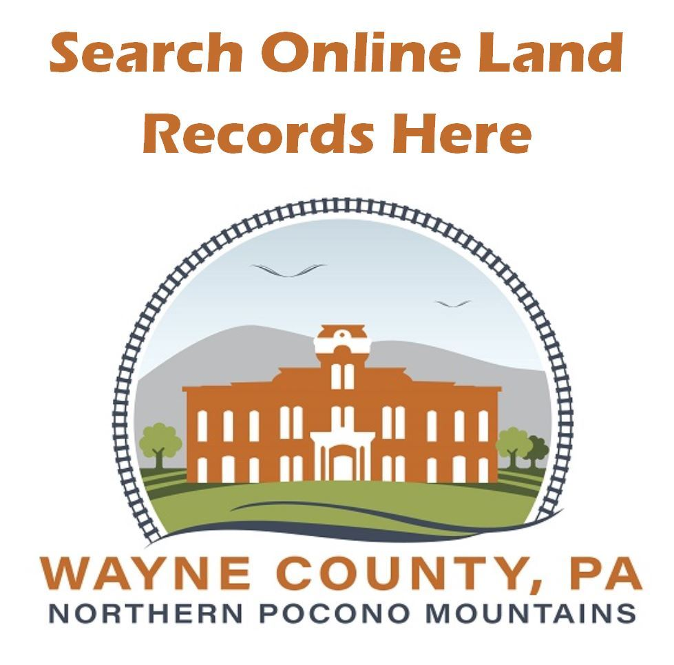 The Wayne County logo serving as a link to the online database of county land records.