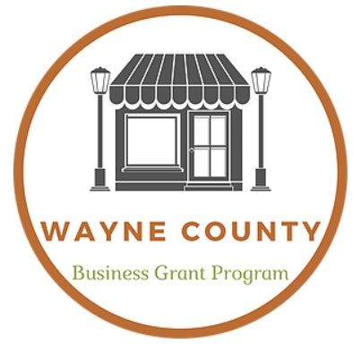 A cartoon image of a Main Street storefront in an orange circle touting the Wayne County Care Busine