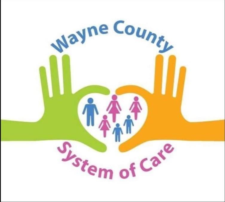 Cartoon hands form a heart containing cartoon people as part of the Wayne County System of Care logo