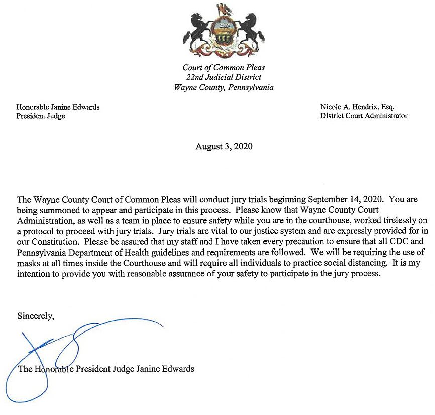 An image of a letter from the President Judge outlining safety precaution for jurors in September.