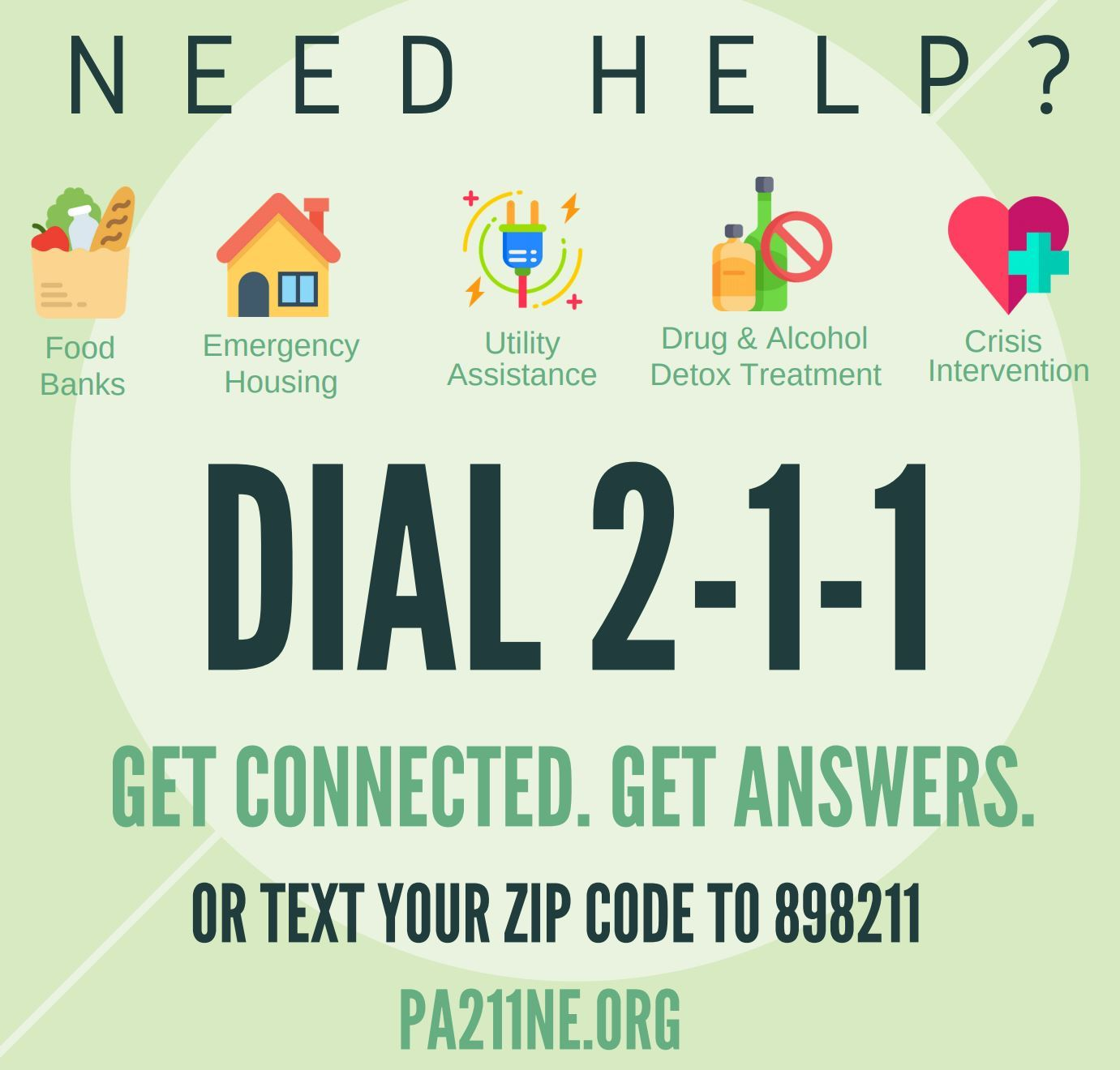 A 211 Information & Referral Service poster serving as a link to 211NE.org