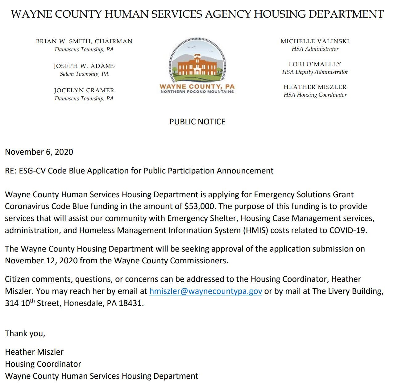 An image of a letter seeking public comment on the Housing Unit Code Blue grant application.