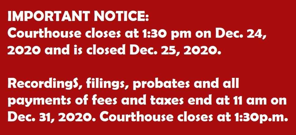 An image infoming the public of end of year holdiay closings and deadlines.