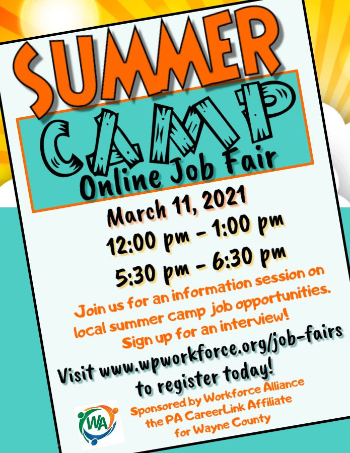 Flyer for Summar Camp online Job Fair March 11 hosted by Workforce Alliance.