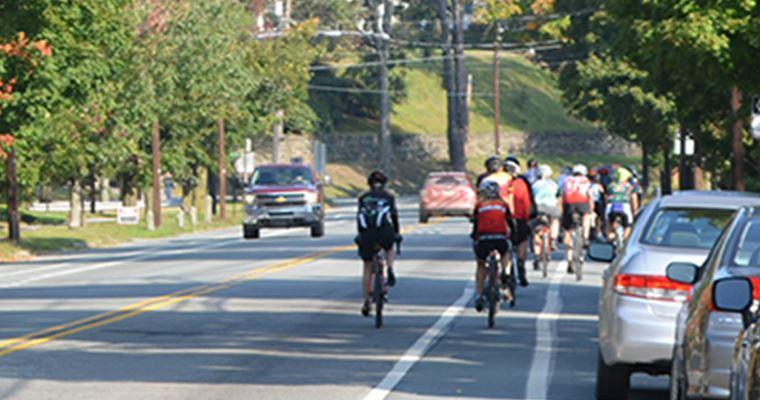 Bicyclists riding down a street with trees and other cars around