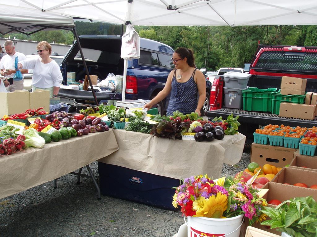 A woman tends a stand teeming with fresh vegetables at the Wayne County Farmers Market.