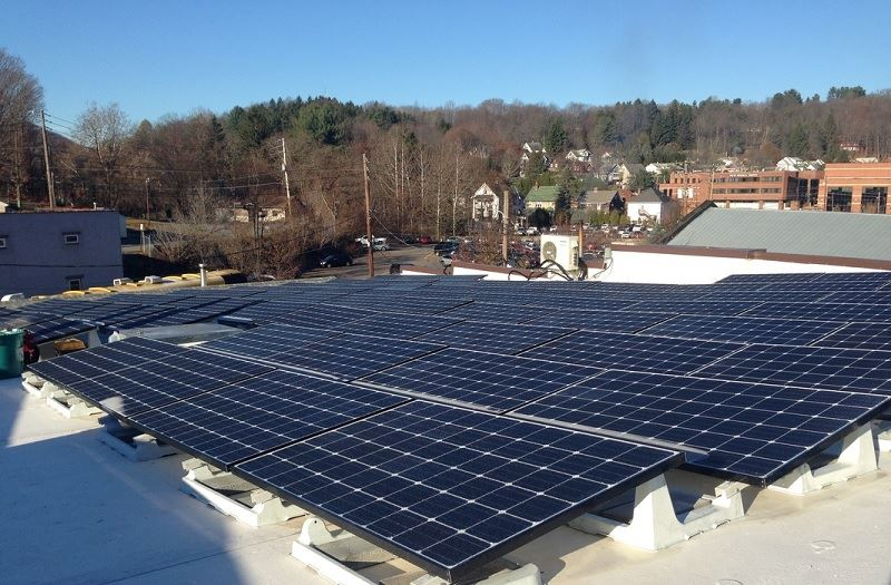 The solar photovoltaic arrays covering the roof at The Cooperage Project in Honesdale.