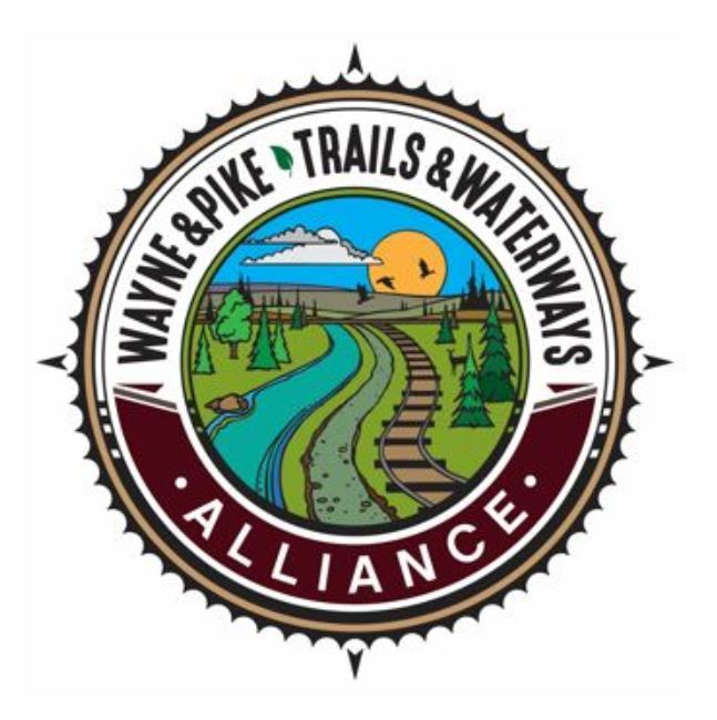 Wayne & Pike Trails & Waterways Alliance Logo with drawing of river, trail and railraod tracks throu