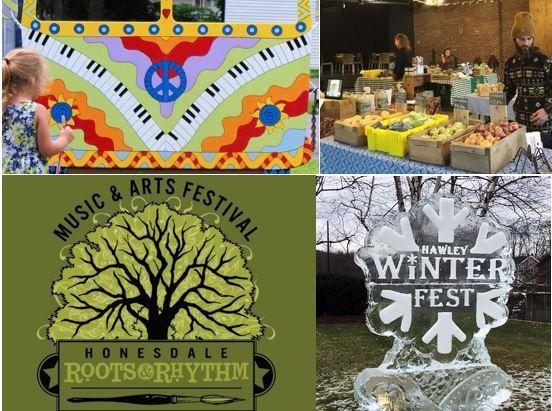 Images of a psychedelic van, a local farmers market, a festival logo and a streetside ice carving.