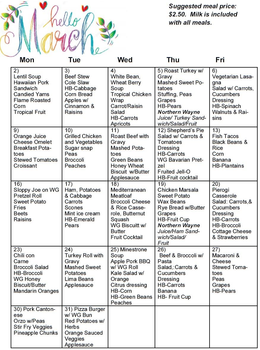 A calendar grid showing the daily lunch offerings at the Wayne County Senior Centers.