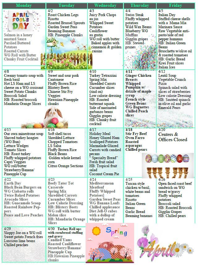 A decorated calendar of daily menus for April